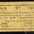 Billetes locales: AJUNTAMENT DE FREIXANET (SANT GUIM ESTACIÓ) 50 CÉNTIMOS, BILLETE LOCAL, GUERRA CIVIL, BC-.. Lote 40416752