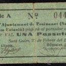 Billetes locales: AJUNTAMENT DE FREIXANET (SANT GUIM ESTACIÓ), 1 PESETA, BILLETE LOCAL, GUERRA CIVIL, BC.. Lote 40416769
