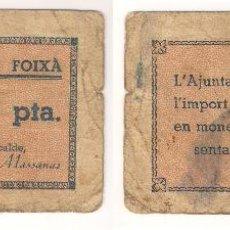 Billetes locales: BILLETE LOCAL DE FOIXÁ DE 1 PESETA. DE 1937. MALA CONSERVACIÓN. CATÁLOGO: TURRÓ-119. L65.. Lote 40634442