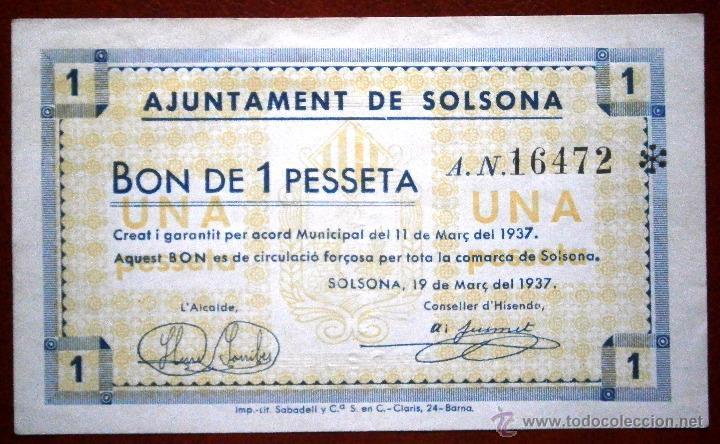 SOLSONA 1937 BONO DE1 PESETA GUERRA CIVIL VER FOTOS (Numismática - Notafilia - Billetes Locales)