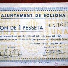 Billetes locales: SOLSONA 1937 BONO DE1 PESETA GUERRA CIVIL VER FOTOS . Lote 41194038