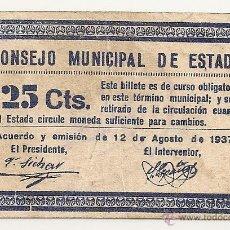 Billetes locales: 25 CENTIMOS DE ESTADA (HUESCA) MUY RARO. Lote 41444047