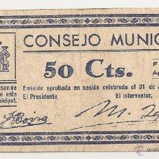 Billetes locales: 50 CENTIMOS DE FONZ (HUESCA) RARO. Lote 41444080