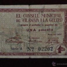 Billetes locales: BILLETE DEL CONSELL MUNICIPAL DE VILANOVA I LA GELTRU. 1 PESETA DEL AÑO 1937. GUERRA CIVIL. Lote 41518139