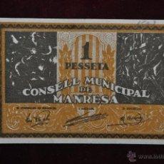 Billetes locales: BILLETE DEL CONSELL MUNICIPAL DE MANRESA. 1 PESETA. GUERRA CIVIL. Lote 41562932