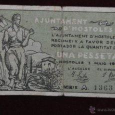 Billetes locales: BILLETE DEL AYUNTAMIENTO DE HOSTOLES. 1 PESETA DEL AÑO 1937. GUERRA CIVIL. Lote 41581761