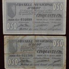 Billetes locales: PAREJA DE BILLETES DEL CONSELL MUNICIPAL D'OLOT. 50 CENTIMOS DEL AÑO 1937. GUERRA CIVIL. Lote 41630715