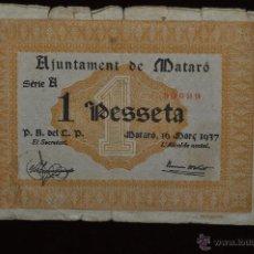 Billetes locales: BILLETE DEL AYUNTAMIENTO DE MATARO. 1 PESETA DEL AÑO 1937. GUERRA CIVIL. Lote 51395448