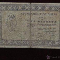 Billetes locales: BILLETES DEL AYUNTAMIENTO DE SURIA. 1 PESETA DEL AÑO 1937. GUERRA CIVIL. Lote 41633697