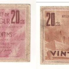 Billetes locales: BILLETE LOCAL DE POBLA DE SEGUR DE 20 CÉNTIMOS DE 1937. MBC. CATÁLOGO TURRÓ-2219. (L99).. Lote 41637665