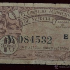 Billetes locales: BILLETE DEL CONSEJO MUNICIPAL DE MURCIA. 10 CENTIMOS. GUERRA CIVIL. Lote 41681419