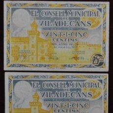 Billetes locales: PAREJA DE BILLETES DEL CONSEJO MUNICIPAL DE VILADECANS. 25 CENTIMOS DEL AÑO 1937. GUERRA CIVIL. Lote 41681548