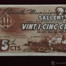Billetes locales: BILLETE DEL CONSEJO MUNICIPAL DE SALLENT. 25 CENTIMOS DEL AÑO 1937. GUERRA CIVIL. Lote 41681658