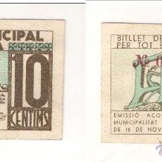 Billetes locales: BILLETE LOCAL DE TERRASSA DE 10 CÉNTIMOS DE 1937. SIN CIRCULAR. CATÁLOGO TURRÓ-2850. (L219).. Lote 41685521