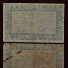 Billetes locales: PAREJA DE BILLETES DEL AYUNTAMIENTO DE CODINES DEL VALLES. 1 PESETA DEL AÑO 1937. GUERRA CIVIL. Lote 41701856