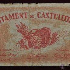 Billetes locales: BILLETE DEL AYNTAMIENTO DE CASTELLTERSOL. 1 PESETA. GUERRA CIVIL. Lote 41701875