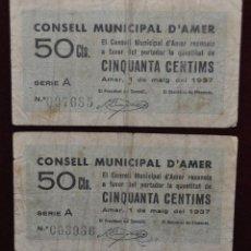 Billetes locales: BILLETES DEL CONSELL MUNICIPAL D'AMER. 50 CENTIMOS DEL AÑO 1937. GUERRA CIVIL. Lote 41703017