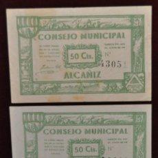 Billetes locales: BILLETES DEL CONSEJO MUNICIPAL DE ALCAÑIZ. 50 CENTIMOS DEL AÑO 1937. GUERRA CIVIL. Lote 41793896