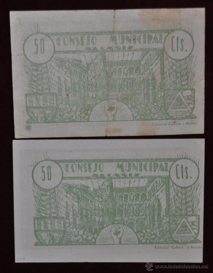Billetes locales: BILLETES DEL CONSEJO MUNICIPAL DE ALCAÑIZ. 50 CENTIMOS DEL AÑO 1937. GUERRA CIVIL - Foto 2 - 41793896