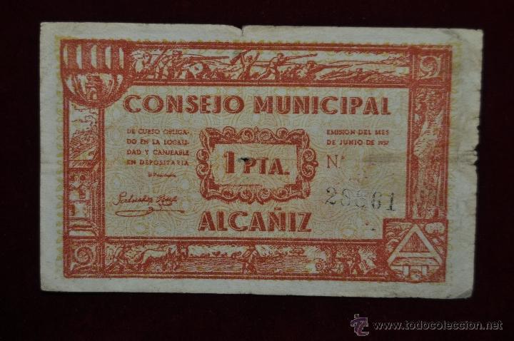 BILLETE DEL CONSEJO MUNICIPAL DE ALCAÑIZ. 1 PESETA DEL AÑO1937. GUERRA CIVIL (Numismática - Notafilia - Billetes Locales)
