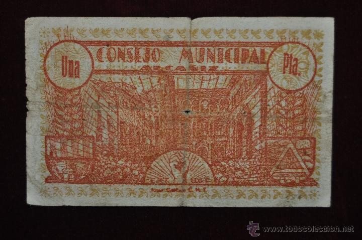 Billetes locales: BILLETE DEL CONSEJO MUNICIPAL DE ALCAÑIZ. 1 PESETA DEL AÑO1937. GUERRA CIVIL - Foto 2 - 41793981