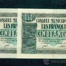 Billetes locales: PAREJA CORRELATIVA DE 50 CTMS DE LES FRANQUESES SC++. Lote 37534171