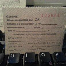 Billetes locales: CUPON RACIONAMIENO ANTIGUOS VALE CUPONES VALES DE COMIDA 1949 CARNE. Lote 42115300
