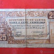 Billetes locales: BILLETE DE 25 CENTIMOS DEL AYUNTAMIENTO DE LLEIDA. 1937. Lote 42223799