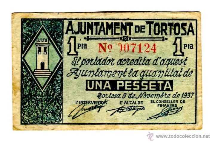 1 PESETA AJUNTAMENT DE TORTOSA (Numismática - Notafilia - Billetes Locales)