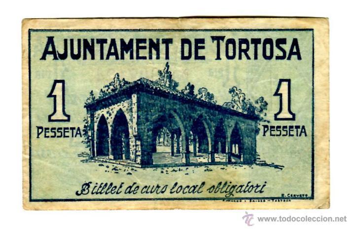Billetes locales: 1 PESETA AJUNTAMENT DE TORTOSA - Foto 2 - 28827840