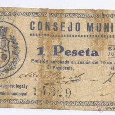 Billetes locales: SARIÑENA- CONSEJO MUNICIPAL- 1 PESETA. Lote 42675407
