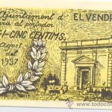 Billetes locales: ELVENDRELL- AYUNTAMIENTO- 25 CENTIMOS-AGOSTO 1937. Lote 42702639