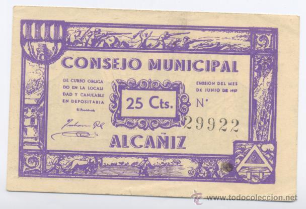 ALCAÑIZ- CONSEJO MUNICIPAL- 25 CENTIMOS-JUNIO 1937 (Numismática - Notafilia - Billetes Locales)