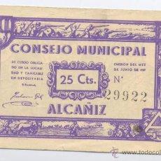 Billetes locales: ALCAÑIZ- CONSEJO MUNICIPAL- 25 CENTIMOS-JUNIO 1937. Lote 42704258