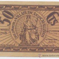 Billetes locales: VILLAFRANCA DE LOS CABALLEROS-CONSEJO MUNICIPAL- 50 CENTIMOS. Lote 42704778