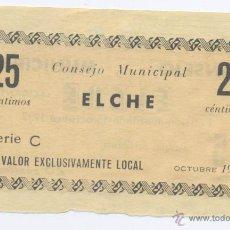 Billetes locales: ELCHE- 25 CENTIMOS-OCTUBRE 1937. Lote 42756762