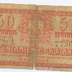 Billetes locales: ALICANTE-AYUNTAMIENTO- 50 CENTIMOS- 30-06-1938. Lote 42757750