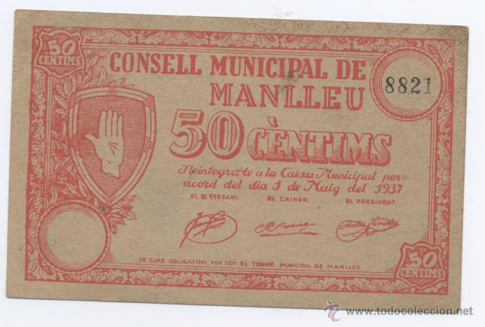 MANLLEU- CONSEJO MUNICIPAL- 50 CENTIMOS-01-05-1937 (Numismática - Notafilia - Billetes Locales)