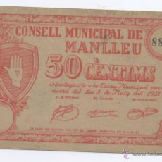 Billetes locales: MANLLEU- CONSEJO MUNICIPAL- 50 CENTIMOS-01-05-1937. Lote 42758514