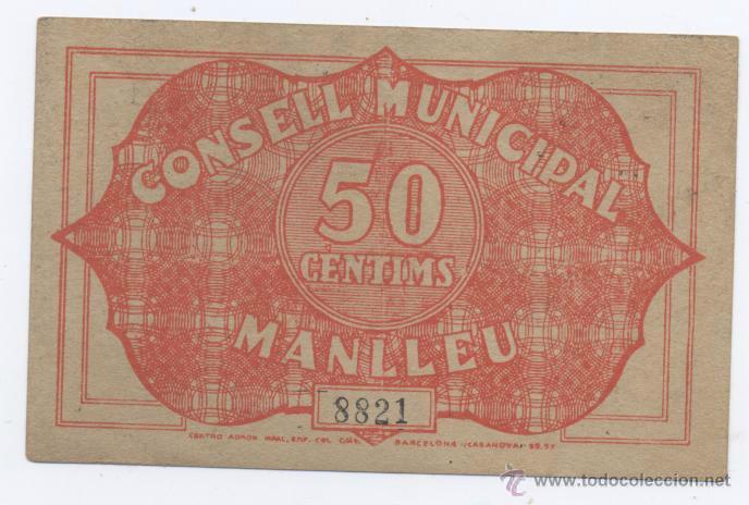 Billetes locales: MANLLEU- CONSEJO MUNICIPAL- 50 CENTIMOS-01-05-1937 - Foto 2 - 42758514