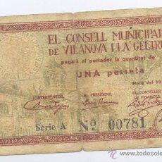 Billetes locales: VILANOVA I LA GELTRU-EL CONSEJO MUNICIPAL-MAYO 1937. Lote 42759533