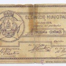 Billetes locales: CIUDAD REAL- CONSEJO MUNICIPAL- 50 CENTIMOS-1937. Lote 42759627