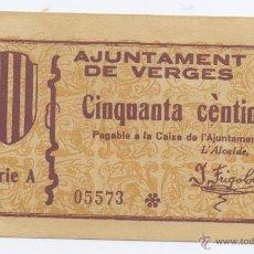 Billetes locales: VERGES- AYUNTAMIENTO- 50 CENTIMOS-. Lote 42759754