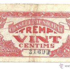 Billetes locales: B056 C.M. DE TREMP (LÉRIDA) - 20 CÉNTIMOS - PAPEL - USADO . Lote 43244873