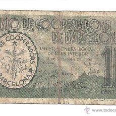 Billetes locales: B087 UNIÓ DE COOPERADORS DE BARCELONA - 10 CÉNTIMOS - PAPEL - MUY USADO - 1936. Lote 43244918