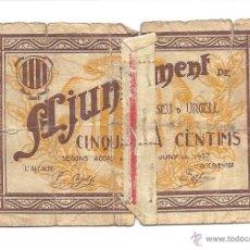 Billetes locales: B090 AYUNTAMIENTO DE LA SEU D'URGELL - 50 CÉNTIMOS - PAPEL - MUY USADO - 1937. Lote 43244923