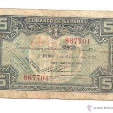 Billetes locales: B239 BILBAO - 5 PESETAS - PAPEL - USADO - ENERO DE 1937. Lote 43245134