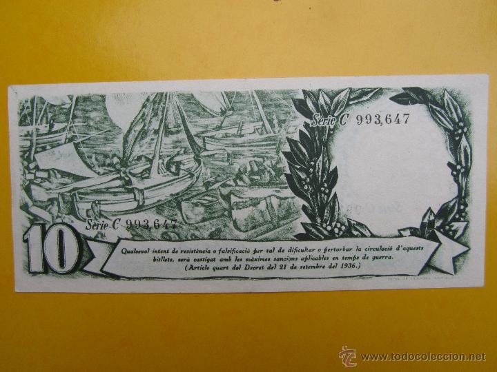 GENERALITAT DE CATALUNYA , DEU PESSETES 25-9-1936, 10 PESETAS , SERIE C - VERDE (Numismática - Notafilia - Billetes Locales)