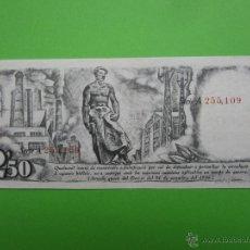 Billetes locales: GENERALITAT DE CATALUNYA , DUES PTES CINQUANTA CTS - 25-9-1936 - 2,50 PESETAS , SERIE A , NUM. ROJO. Lote 43487968