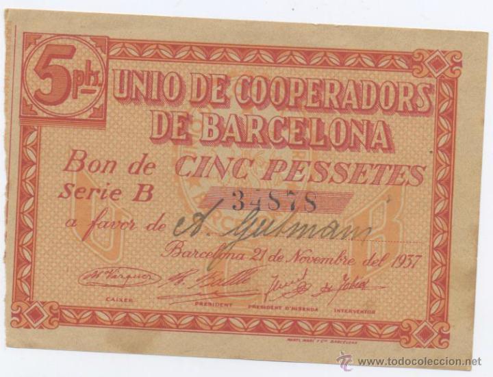 UNIO DE COOPERADORS DE BARCELONA- 5 PESETAS- 21-11-1937 (Numismática - Notafilia - Billetes Locales)